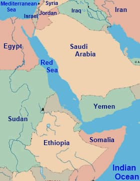 Map of the Red Sea and surrounding region